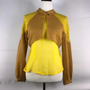 Rodarte x Opening Ceremony Sz M mustard blouse